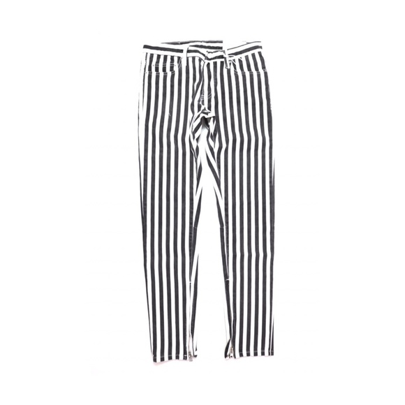 MNML Other - MNML BLACK AND WHITE STRIPED JEANS WITH ZIP ANKLE
